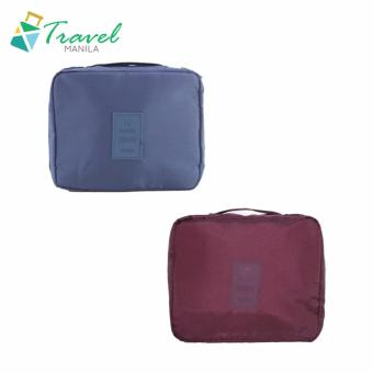 Travel Manila Toiletry Pouch Bag Bundle (Maroon and Navy Blue)