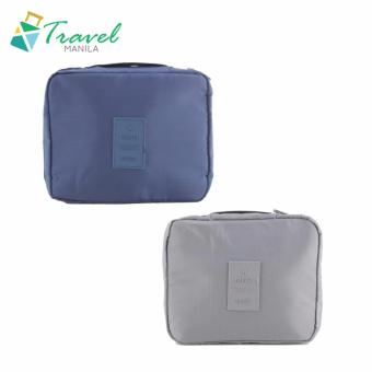 Travel Manila Toiletry Pouch Bag Bundle (Navy Blue and Grey)