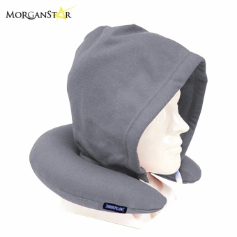 Travel Neck Pillow with Hood (Gray)