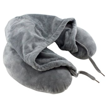 Travel Neck Pillow with Hood (Grey)