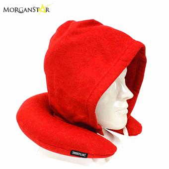 Travel Neck Pillow with Hood (Red)