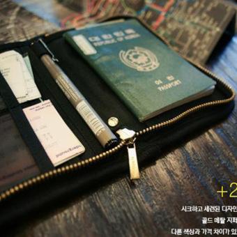 Travel Passport Holder Travel Wallet Pen Holder -Black - 4