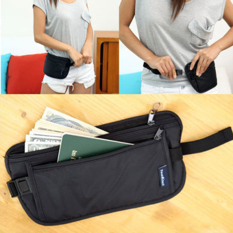 Travel Sport Pouch Bag Hidden Compact Security Money Waist Belt Holder Pocket (Black)