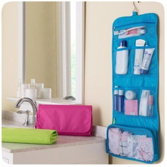 Travel Toiletry Hanging Wash Makeup Cosmetic Organizer (Blue)
