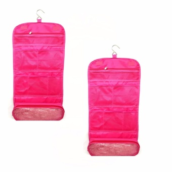 Travel Toiletry Hanging Wash Makeup Cosmetic Organizer (Pink) Setof 2