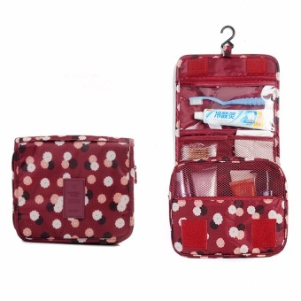 Travel Toiletry Make Up Cosmetic Bags (Floral Maroon)