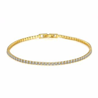 Treasure by B&D B005-A Zircon Inlay Simple Geometry Chain Bracelet (Gold Plated)