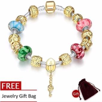 Treasure by B&D H017 Delicate Colorful Zircon Inlay Beads Bracelet (Gold Plated)