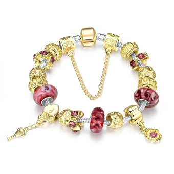 Treasure by B&D H024 Luxury Gold Plated Transfer Beads Colored Glass Stones Inlay Pandora Beads Price Philippines
