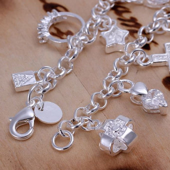 Treasure by B&D H144 Ball Moon Cross Heart Tassel Bracelet (Silver Plated)