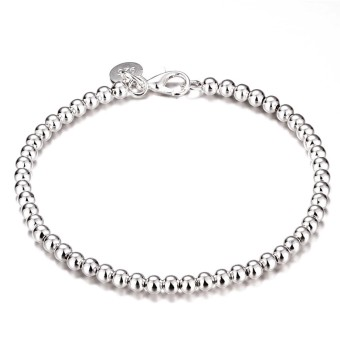 Treasure by B&D H198 Mini Beads Chain Bracelet (Silver Plate)