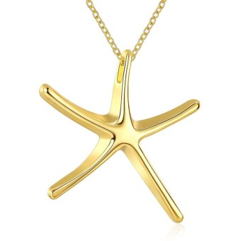 Treasure by B&D N041 Simple Starfish Design Pendant Necklace Party Jewelry (Gold)