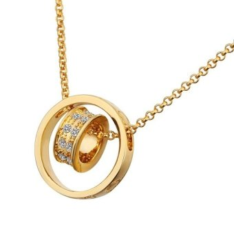 Treasure by B&D N592 Czech Drilling Double Rings Pendant Rolo Necklace (Gold Plated)