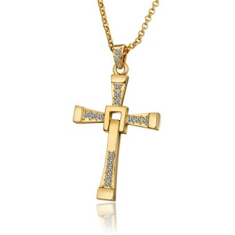 Treasure by B&D N703 Buckle Design Cross Pendant Men's Necklace (Gold Plated)