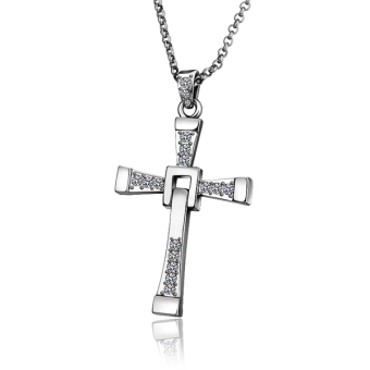 Treasure by B&D N705 Fast and Furious Cross Pendant Men's Necklace (Silver Plated)