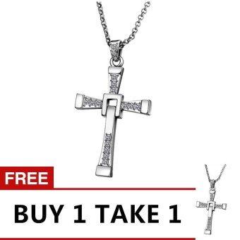 Treasure by B&D N705 Fast and Furious Cross Pendant Men's Necklace ( Silver Plated ) Buy 1 Take 1