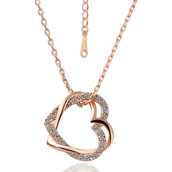Treasure by B&D N007 Lover's Hearts Pendant Necklace With Zircon Inlay (Rose Gold Plated)