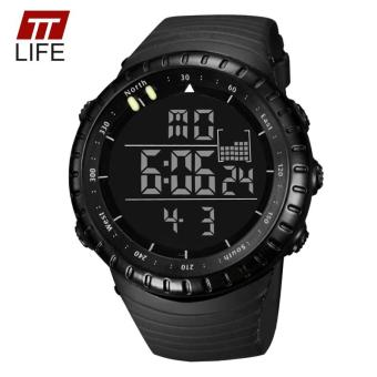 TTLIFE Luminous LED Large Face Mens Watches Waterproof Shockproof Stopwatch Calendar Backlight Digital Sports Watch Men Alarm - intl