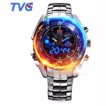 TVG Luxury Brand Military Sports Watches Mens Quartz Analog LED Watch Wrist Stainless Steel Clock Men Army Wristwatch - intl