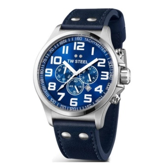 TW Steel Canteen Men's Blue Leather Strap Watch (TW403)
