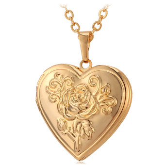 U7 Flower Locket Pendant 18K Real Gold Plated Necklace(Gold) - INTL