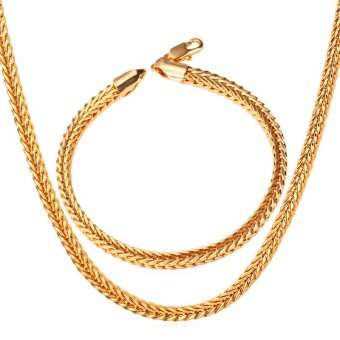 U7 Foxtail Franco Chain 18K Real Gold Plated Necklace Bracelet Set(Gold) - INTL