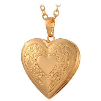 U7 Heart Locket Pendant 18K Real Gold Plated Necklace(Gold)