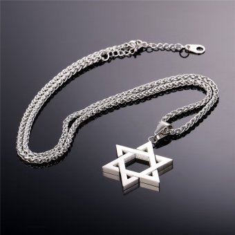 U7 Jewish Jewelry Magen Star of David Pendant Necklace Women MenChain Stainless Steel Israel Necklace Gift (White) - 5
