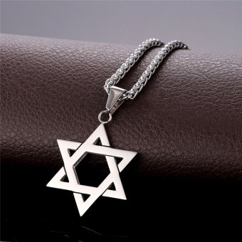 U7 Jewish Jewelry Magen Star of David Pendant Necklace Women MenChain Stainless Steel Israel Necklace Gift (White) - 2