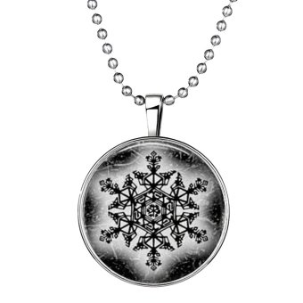 Ufengke Christmas Punk alloy Round Shaped Snowflake Noctilucent Pendant Necklace - Intl - picture 2