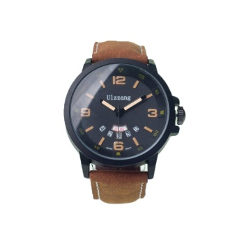 Ulzzang 1163 Leisure Men's Calendar Leather Watch (Brown) #0127