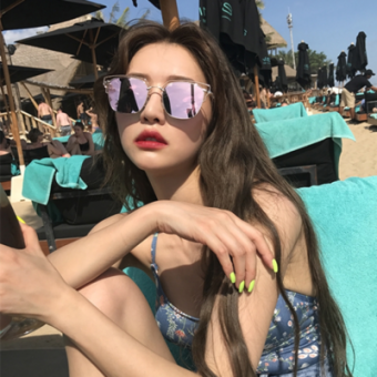 Ulzzang cool female long sunglasses reflective sunglasses