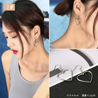 Ulzzang Japanese-style silver geometric heart-shaped earrings porous stud