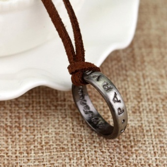 Uncharted 4 Drake's Vintage Band Ring Leather Code Pendant Necklace - intl - 3