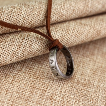 Uncharted 4 Drake's Vintage Band Ring Leather Code Pendant Necklace - intl - 2