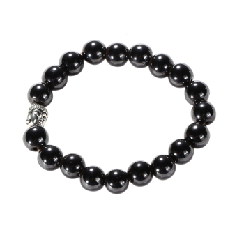 Unisex Buddha Head Natural Magnet Black Agate Prayer Beads Bracelet