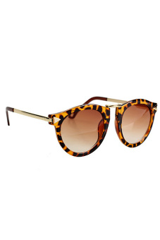 Unisex Cool Sunglasses Retro Gold Plated Frame Leopard Print