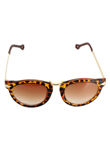 Unisex Cool Sunglasses Retro Gold Plated Frame Leopard Print - picture 2