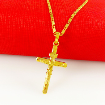 Unisex Cross Pendant Chain 24KYellow Gold Plated Fashion Women Necklace 18inch