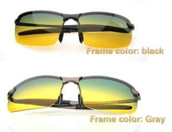 Unisex Day & Night View Vision Glasses Anti-glare Driving Polarized Sunglasses (Gray Frame) - Intl