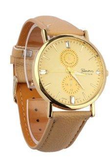 Unisex Faux Leather Band Analog Quartz Wrist Watch Watches Brown