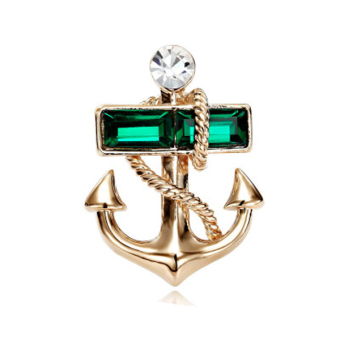 Unisex Green Gold Plated Boat Anchor Rhinestone Brooch Pin Gift
