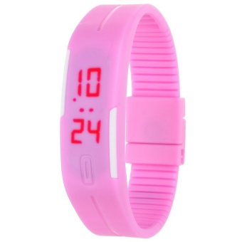 Unisex Pink Rubber Bracelet LED Digital Wrist Watch