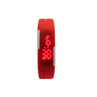 Unisex Red Rubber Bracelet LED Digital Wrist Watch