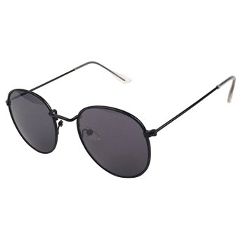 Unisex Retro Big Round Circle Mirror Grey Lens Metal Black Frame Sunglasses Shades Sun Glasses for Men Women Style 2