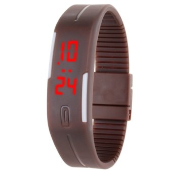 Unisex Rubber Strap LED Digital Wrist Watch (Brown)