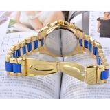Unisex Women Men's Round Shape Blue Stainless Steel Strap Watch - thumbnail 4