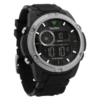 UniSilver TIME Techroid Men's Black / Silver / Green Digital RubberWatch KW1321-1001