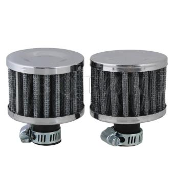 Universal Car Air Intake Filter Air Breather Filter Set of 2 Silver