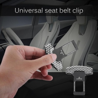 Universal Car Carbon Fiber Safety Seat Belt Buckle Insert AlarmStopper Clip Clamp - intl